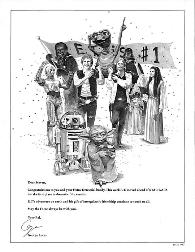 ET Star Wars Lucas gratuluje Spielbergowi