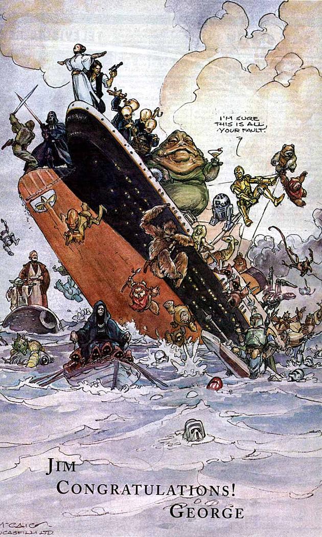Star Wars Titanic Lucas gratuluje Cameronowi